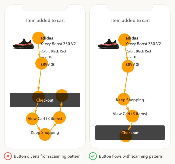 mobile cta buton flows with scanning pattern