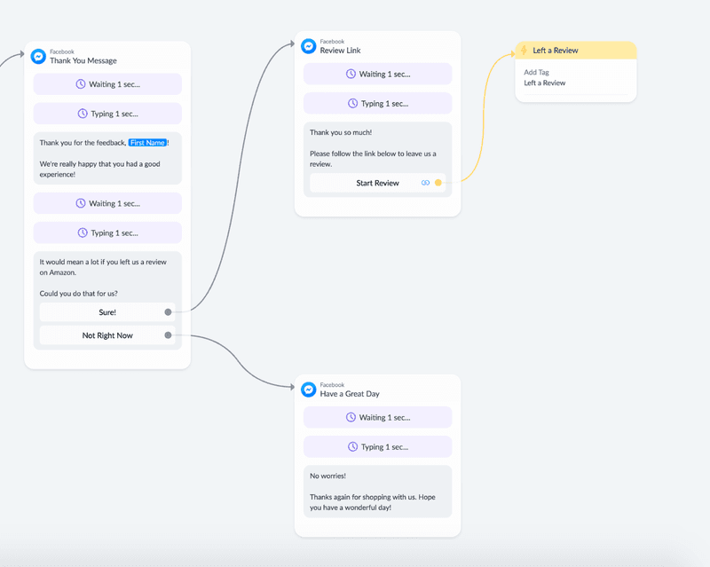 customer feedback review flow chatbot automation from manychat