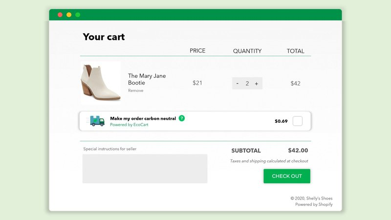 ecocart carbon neutral checkout tool for ecommerce
