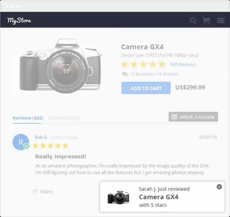 ecommerce social proof widget image example