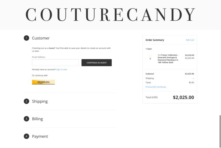 ecommerce checkout page optimization couture candy