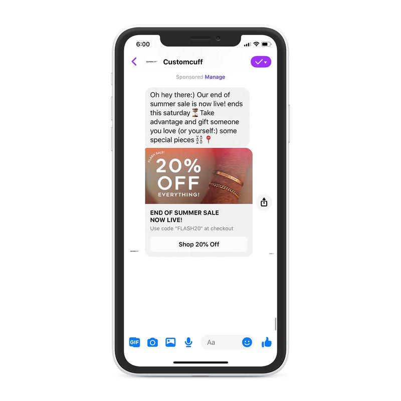 flash sale on mesenger chat