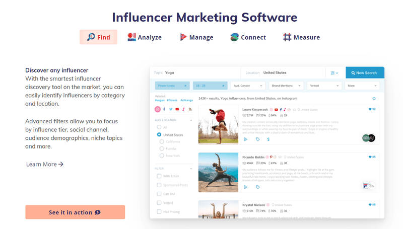 klear influencer marketing software tool