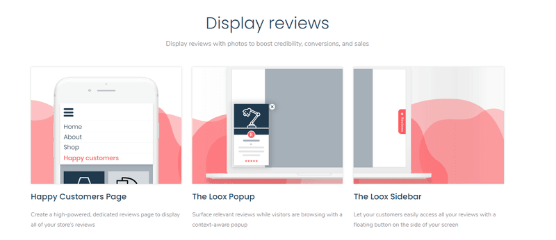 loox display reviews UGC widget app tool