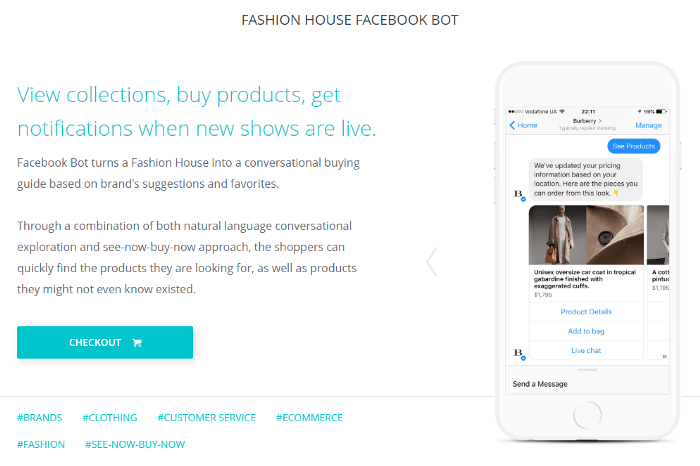make a chatbot example for fashion industry