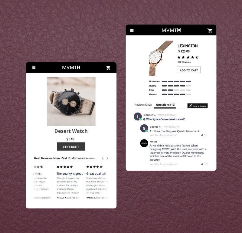 mvmt review widget example Yotpo