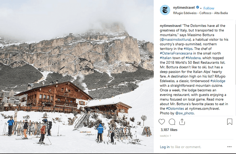 ny times travel instagram post caption
