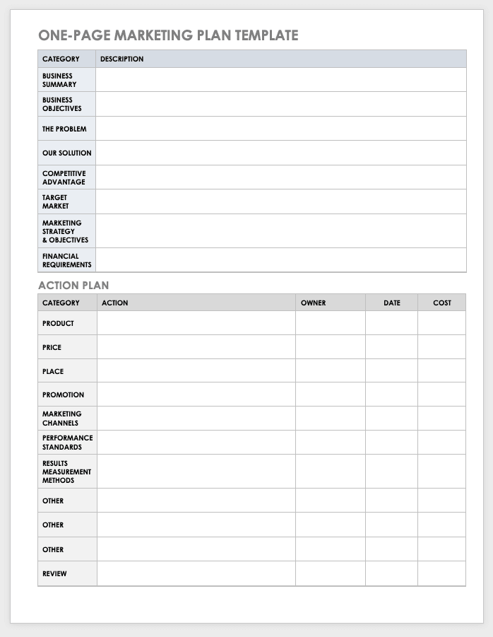 one page marketing plan example template quick and easy