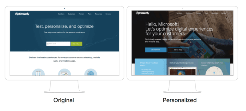 optimizely useproof site dynamic content personalization