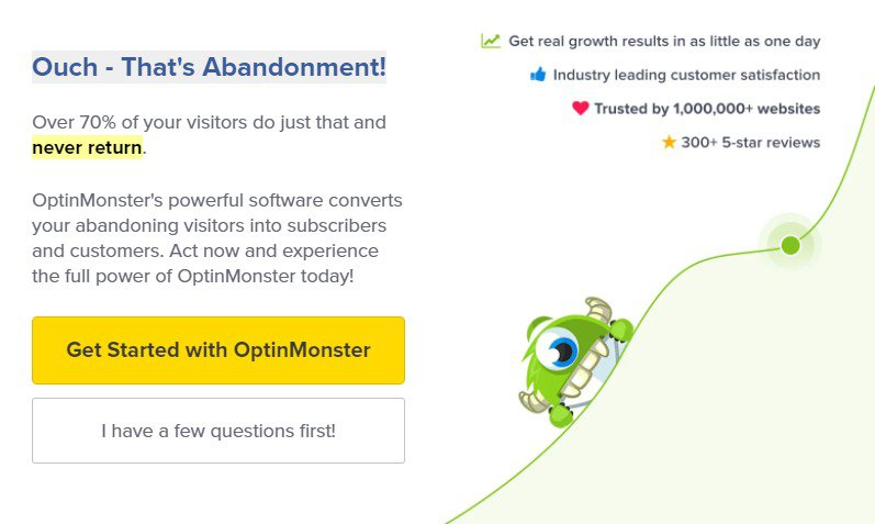 optinmonster exit popup example for ecommerce conversion rate optimization