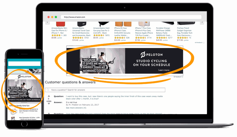 amazon marketing product display ad example from peloton