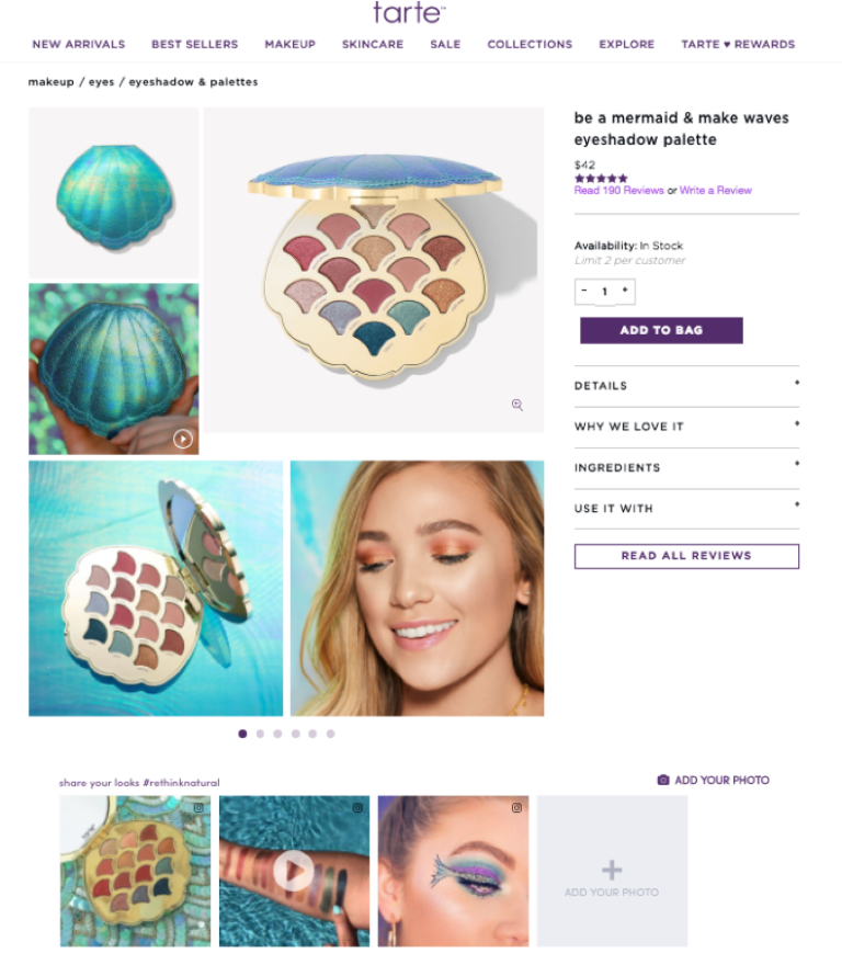 pixlee UGC example from Tarte product page image gallery