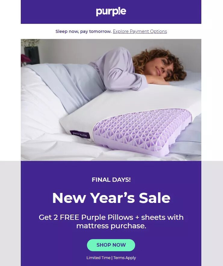 purple new years promotional email campaign example