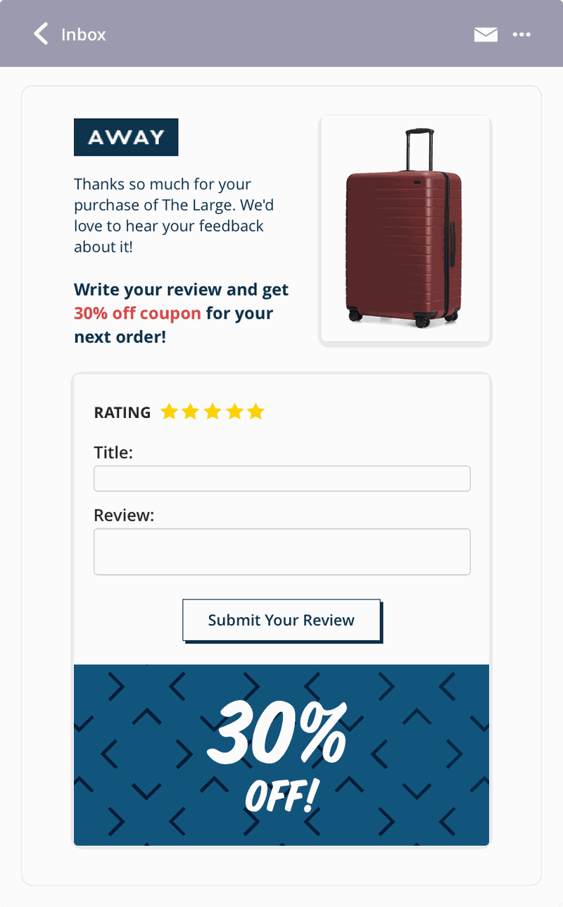 away email UGC asking for reviews example