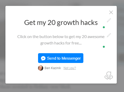 sample chatbot messenger popup landing page manychat ecommerce