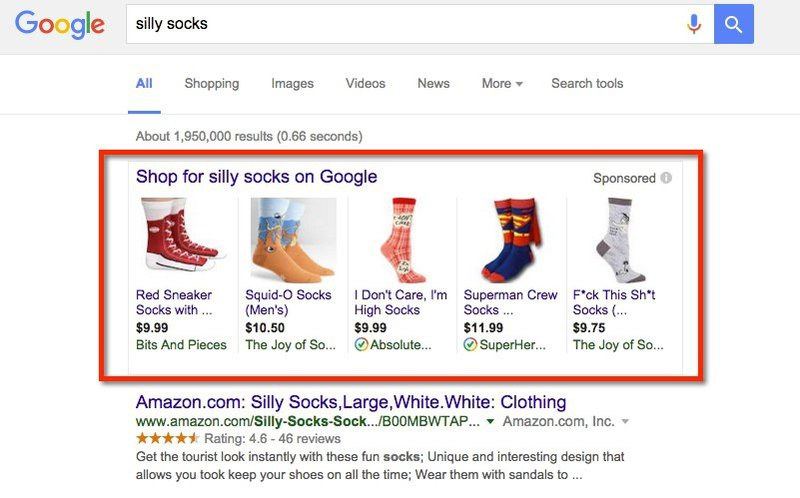 silly socks google shopping ads example