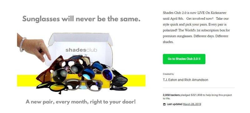 sunglasses club on kickstarter