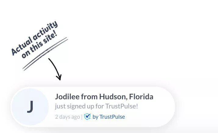 trustpulse ecommerce social proof tool image example
