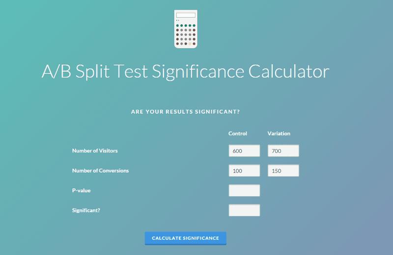 a/b split test significance calculator testing cro ecommerce