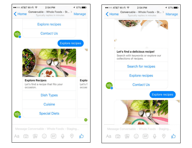 whole foods chatbot example