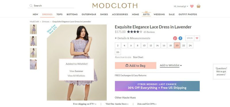 wishlist feature on modcloth ecommerce store