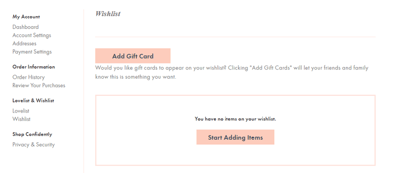 wishlist feature with giftcard for ecommerce conversions