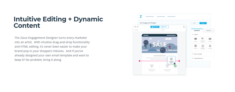 zaius email marketing tool dynamic content