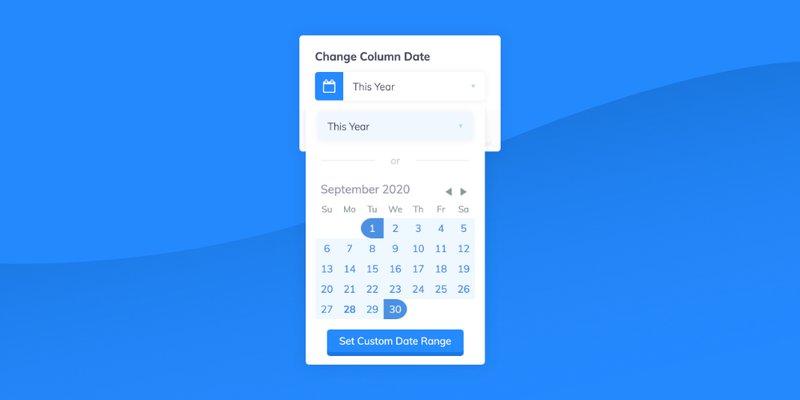 date change modal on column header
