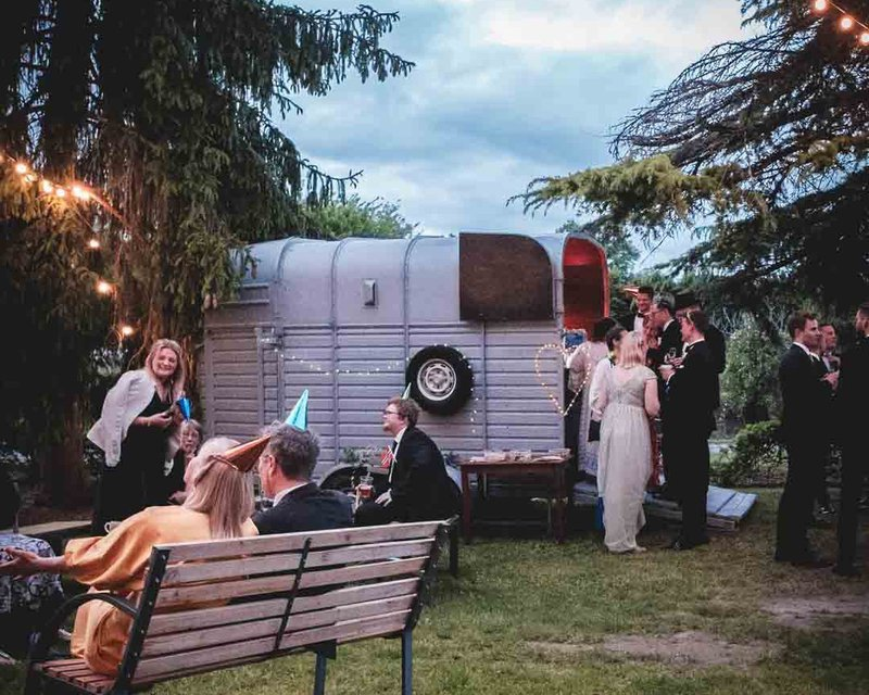 an impeccable wedding with horse box