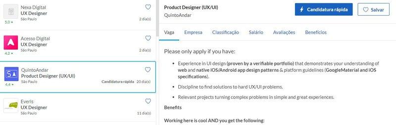 Vagas em UX Design cadastradas no Glassdoor