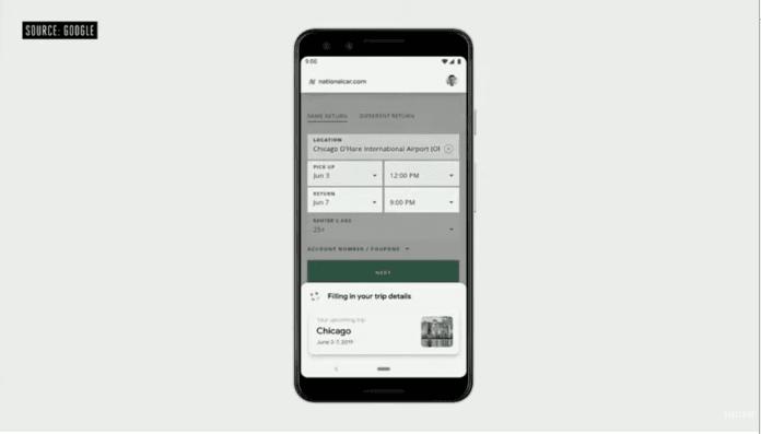 Preenchimento automático de dados pelo Duplex on the web