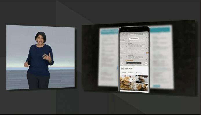 Demonstração do Google Lens em um cardápio