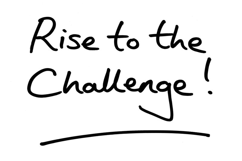 Rise to the Challenge! handwritten on a white background.