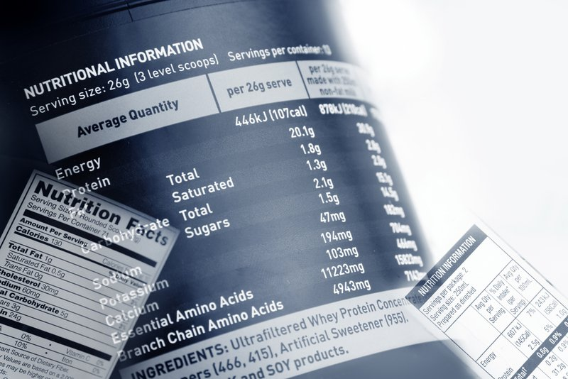 Nutrition information facts on food labels