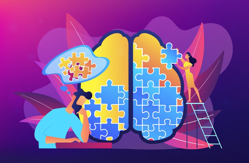 Man doing human brain puzzle. Psychology and psychotherapy session, mental healing and wellbeing, therapist counselling mental illness and difficulties. Vector illustration on ultraviolet background.