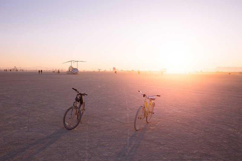 Burning Man is a life most of us can only dream about compressed in one week and this timeframe is nothing for the scale and density of experiences the playa can offer. It was the only morning when I decided to dedicate some time for photography and took my camera with me after the whole night trip. And in the picture are our faithful bikes.
