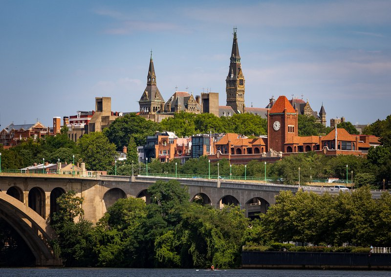 Georgetown's campus and the potomac
