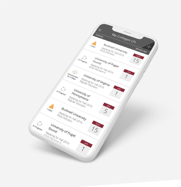 Image of Common App OnTrack mobile for college application app
