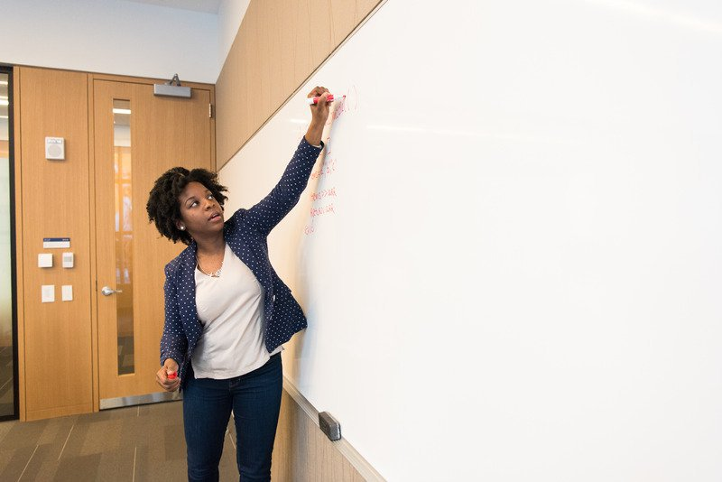 Image of teacher writing on a whiteboard