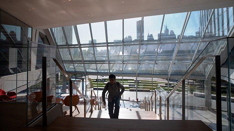 Inside a Cornell building