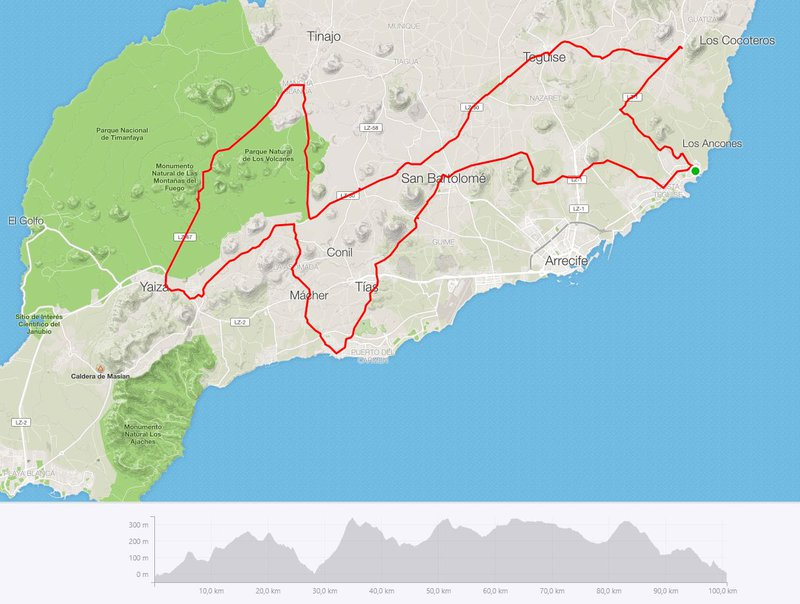 Route 3: endurance training to Timanfaya, 100,74 km