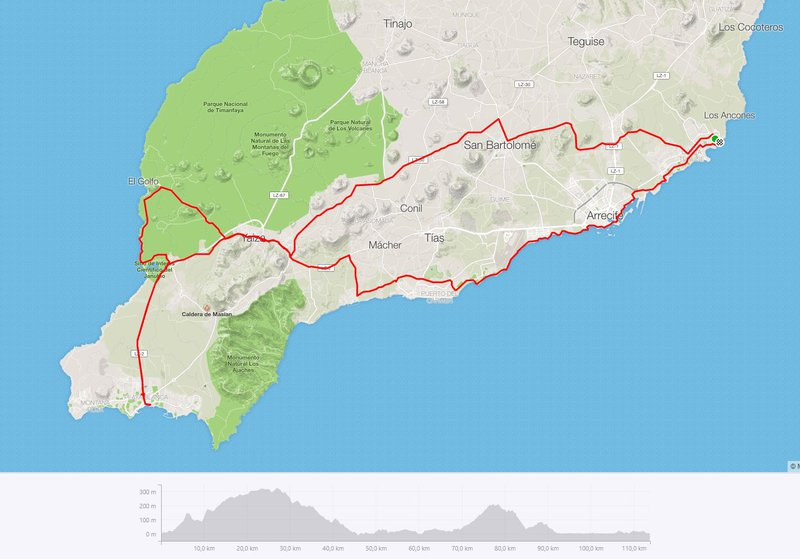 Route 5: endurance training naar Playa Blanca en El Golfo