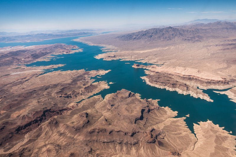 An aerial view to Lake Mead.