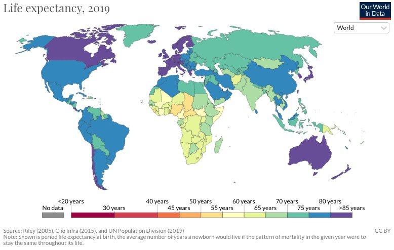 Différences d'espérance de vie dans le monde