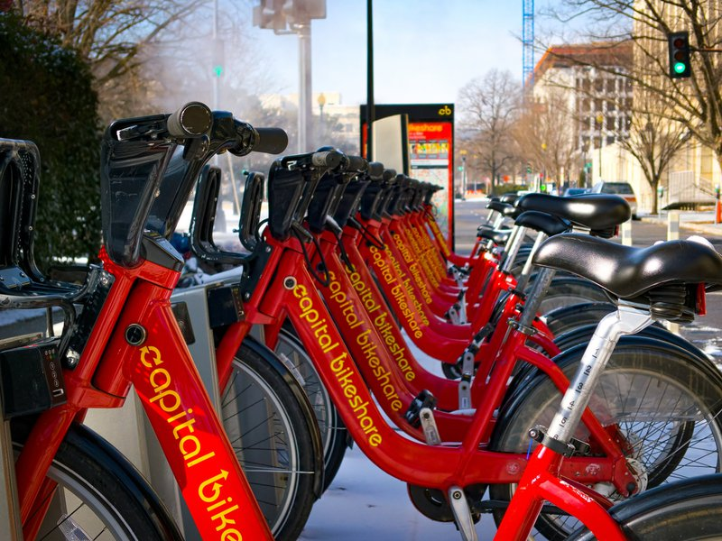 Bike Share Rack in D.C. at Mid-day