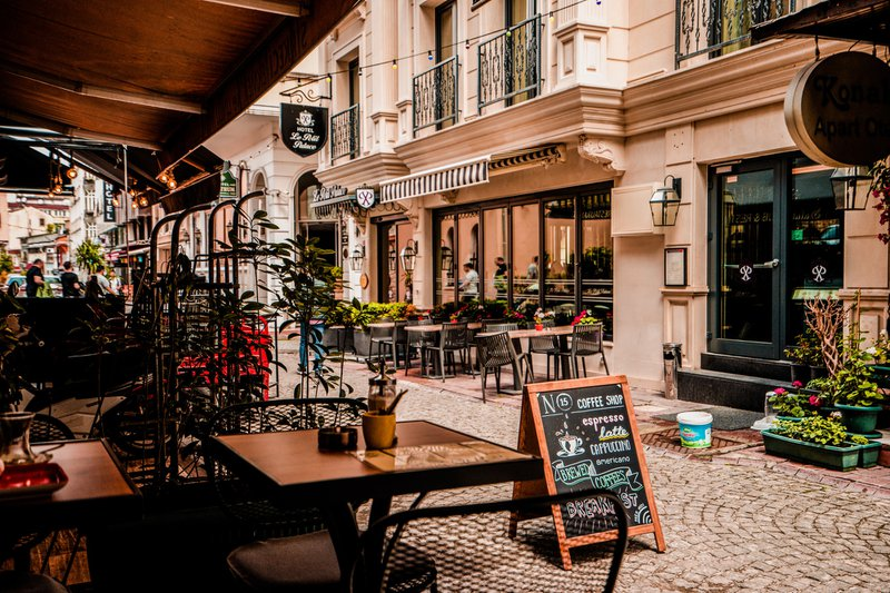 European town with outdoor cafes