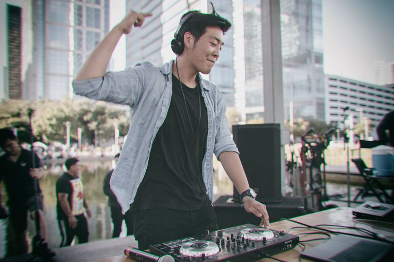 DJ playing music during daytime