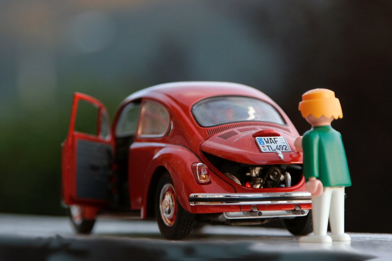 Red beetle toy car Playmobil