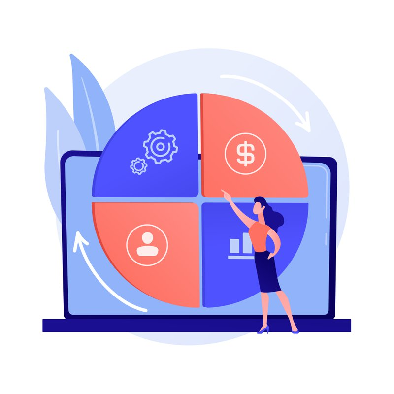 Balanced business scorecard. Coherent project, harmonious company development, optimized workflow. Skillful business management expert. Vector isolated concept metaphor illustration
