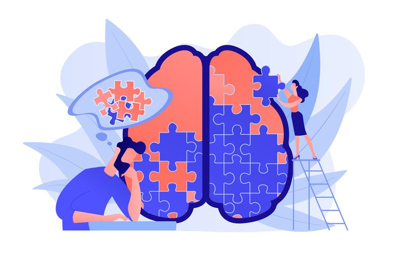 Man doing human brain puzzle. Psychology and psychotherapy session, mental healing and wellbeing, therapist counselling mental illness and difficulties violet palette. Vector isolated illustration.